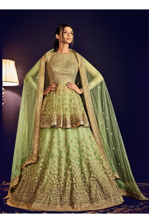 Capricious Liril Green Net Designer Lehenga Choli