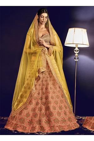 Exotic Peach Cotton Designer Lehenga Choli