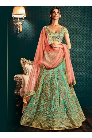 Dilettante Turquoise Cotton Designer Lehenga Choli
