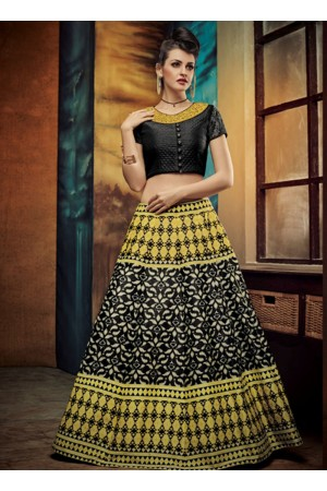 party wear black silk jute printed lehenga choli
