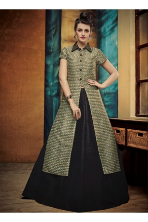 party wear black silk jute printed lehenga choli