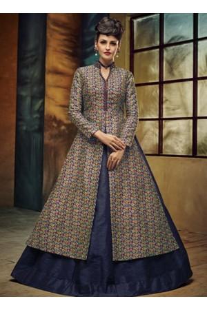party wear blue silk jute printed lehenga choli