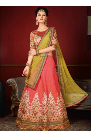 wedding wear gajri silk heavy embroidery work lehenga choli