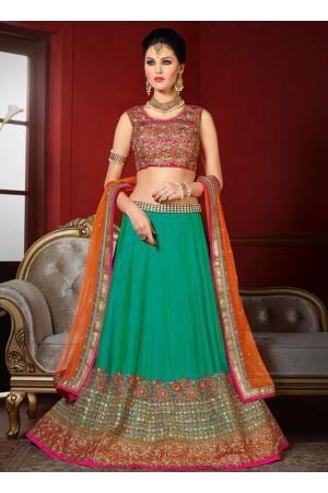 wedding wear green bhagalpuri silk heavy embroidery work lehenga choli