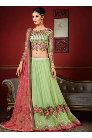 wedding wear green net heavy embroidery work lehenga choli