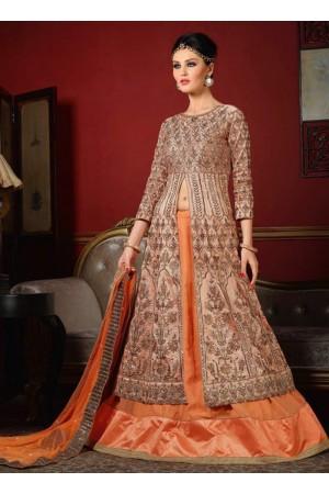 wedding wear peach bhagalpuri silk heavy embroidery work lehenga choli