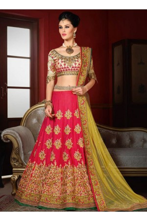 wedding wear pink bhagalpuri silk heavy embroidery work lehenga choli
