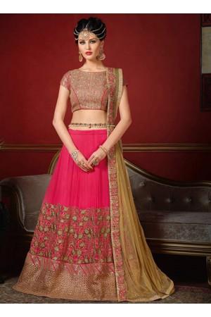 wedding wear pink silk heavy embroidery work lehenga choli