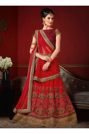 wedding wear red net heavy embroidery work lehenga choli