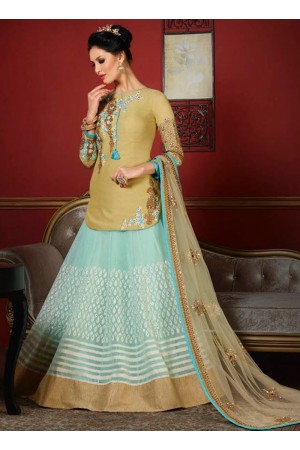 wedding wear sky blue brasso heavy embroidery work lehenga choli
