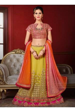 wedding wear yellow net heavy embroidery work lehenga choli