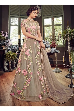 Beige color georgette party wear anarkali kameez 5803
