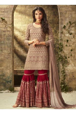 Beige maroon georgette wedding wear sharara 52001