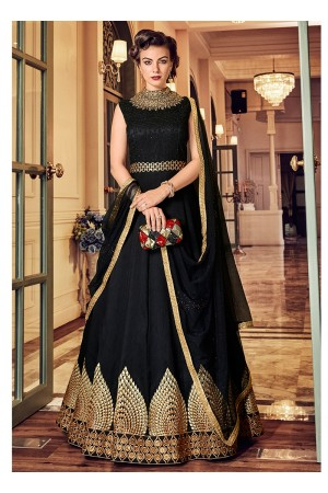 Black color banglori silk party wear anarkali kameez 5811