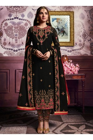 Black color straight cut salwar kameez 10064