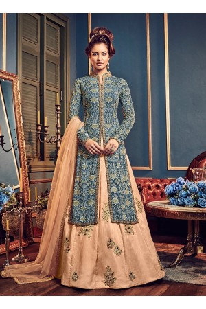 Blue color georgette party wear Lehenga kameez 5809