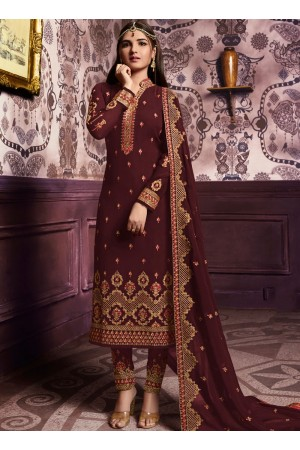 Brown color straight cut salwar kameez 10067