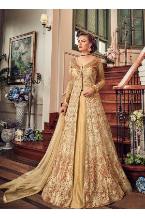 Cream color georgette party wear Lehenga kameez 5806