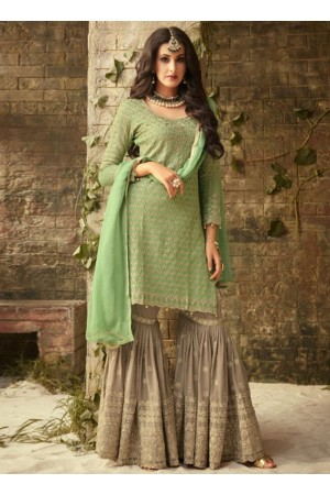 Green beige georgette wedding wear sharara 52005