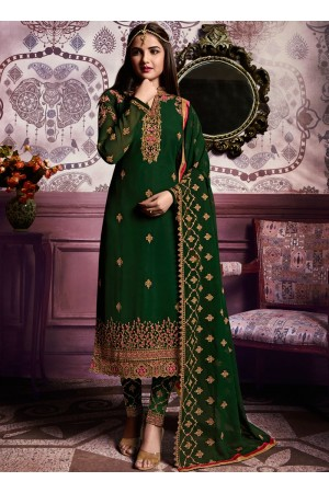 Green color straight cut salwar kameez 10062