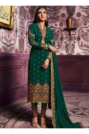 Green color straight cut salwar kameez 10068
