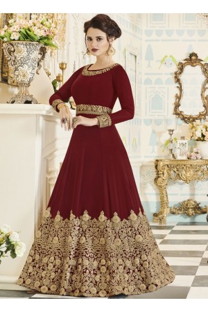 Maroon georgette party wear anarkali 001F