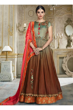 Multi color barfi silk wedding wear anarkali 3002