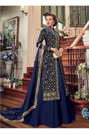 Navy blue color velvet party wear Lehenga kameez 5805