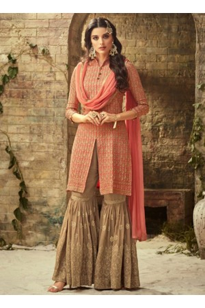 Peach beige georgette wedding wear sharara 52003