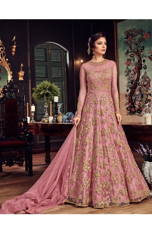 Pink color net party wear anarkali kameez 5807