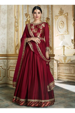 Red color barfi silk wedding wear anarkali 3004