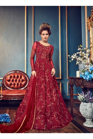 Red color net party wear anarkali kameez 5808