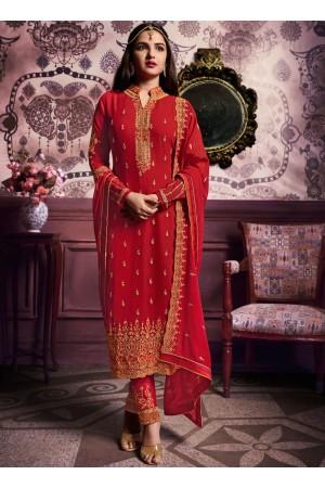 Red color straight cut salwar kameez 10063