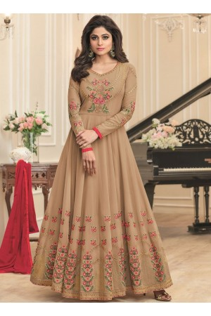 Shamita Shetty Beige georgette wedding wear anarkali 8040
