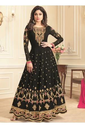 Shamita Shetty Black georgette wedding wear anarkali 8039