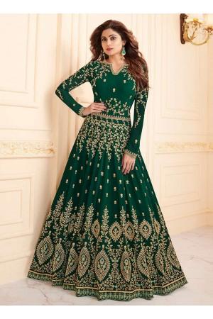 Shamita Shetty Green color georgette party wear anarkali 8034