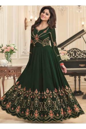 Shamita Shetty Green georgette wedding wear anarkali 8035