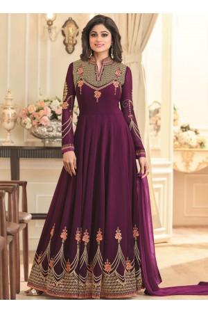 Shamita Shetty Magenta georgette wedding wear anarkali 8036
