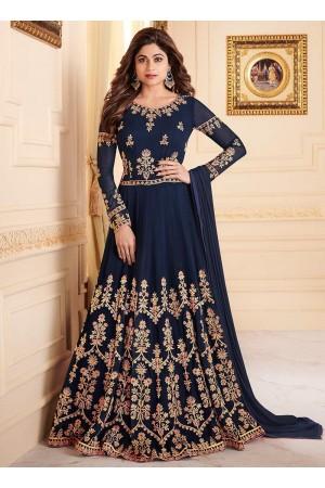 Shamita Shetty Navy blue color georgette party wear anarkali 8032