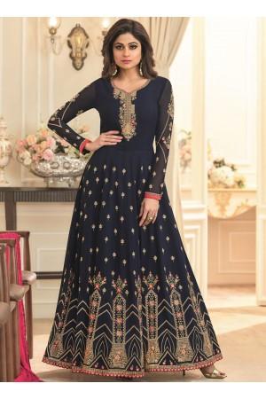 Shamita Shetty Navy blue georgette wedding wear anarkali 8037