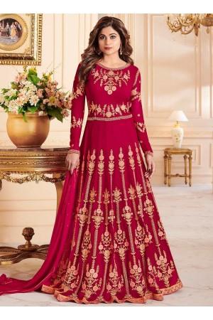 Shamita Shetty Pink color georgette party wear anarkali 8030