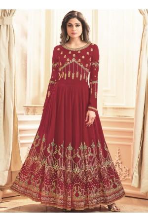 Shamita Shetty Red georgette wedding wear anarkali 8038