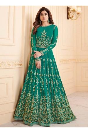 Shamita Shetty Teal color georgette party wear anarkali 8031