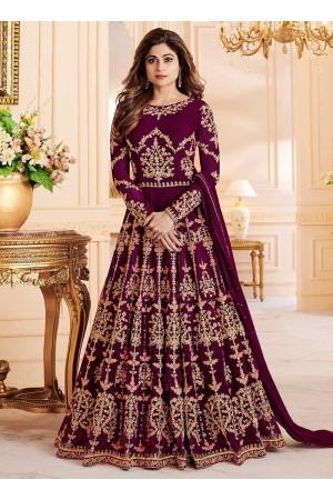 Shamita Shetty Wine color georgette party wear anarkali 8033