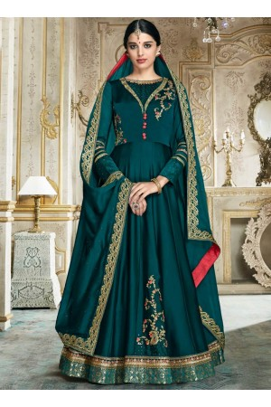 Teal color barfi silk wedding wear anarkali 3003