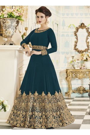 Teal georgette party wear anarkali 001G