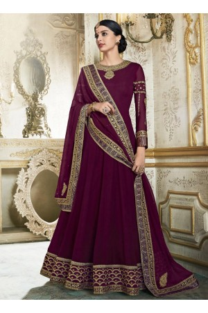 Wine color barfi silk wedding wear anarkali 3001