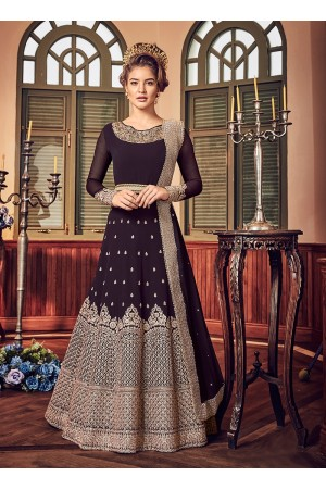 Wine color georgette party wear anarkali 5801