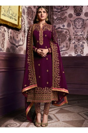 Wine color straight cut salwar kameez 10061