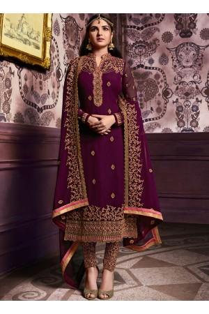 Wine color straight cut salwar kameez 10061